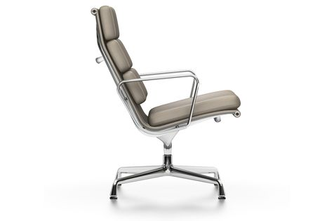 EA 215 Aluminium Soft Pad Chair - Non Swivel, With Armrests by Vitra
