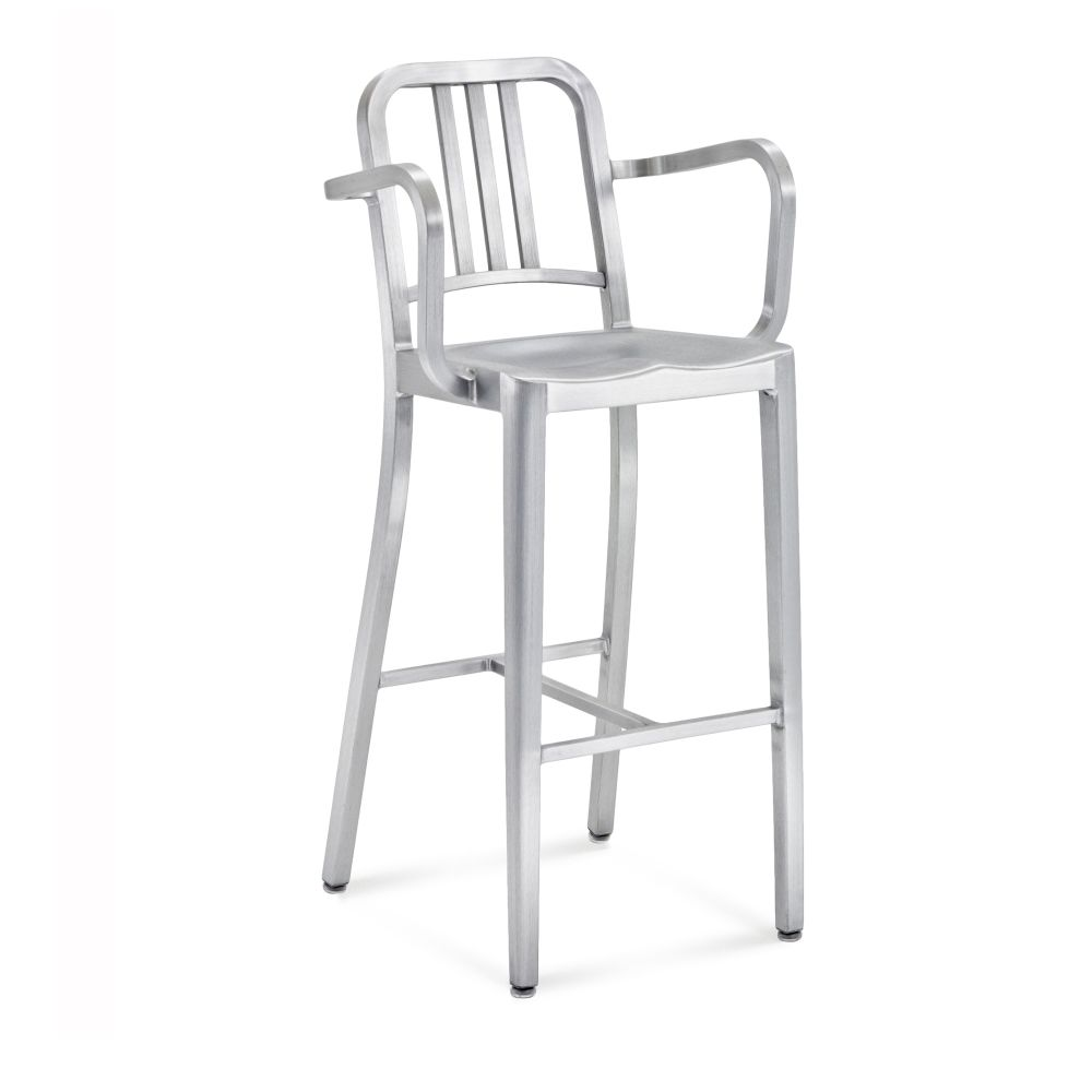 1006 Navy Barstool with Arms by Emeco