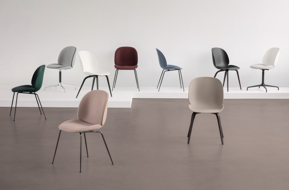 Beetle Dining Chair   Conic Base   Front Upholstered Shell From Gubi