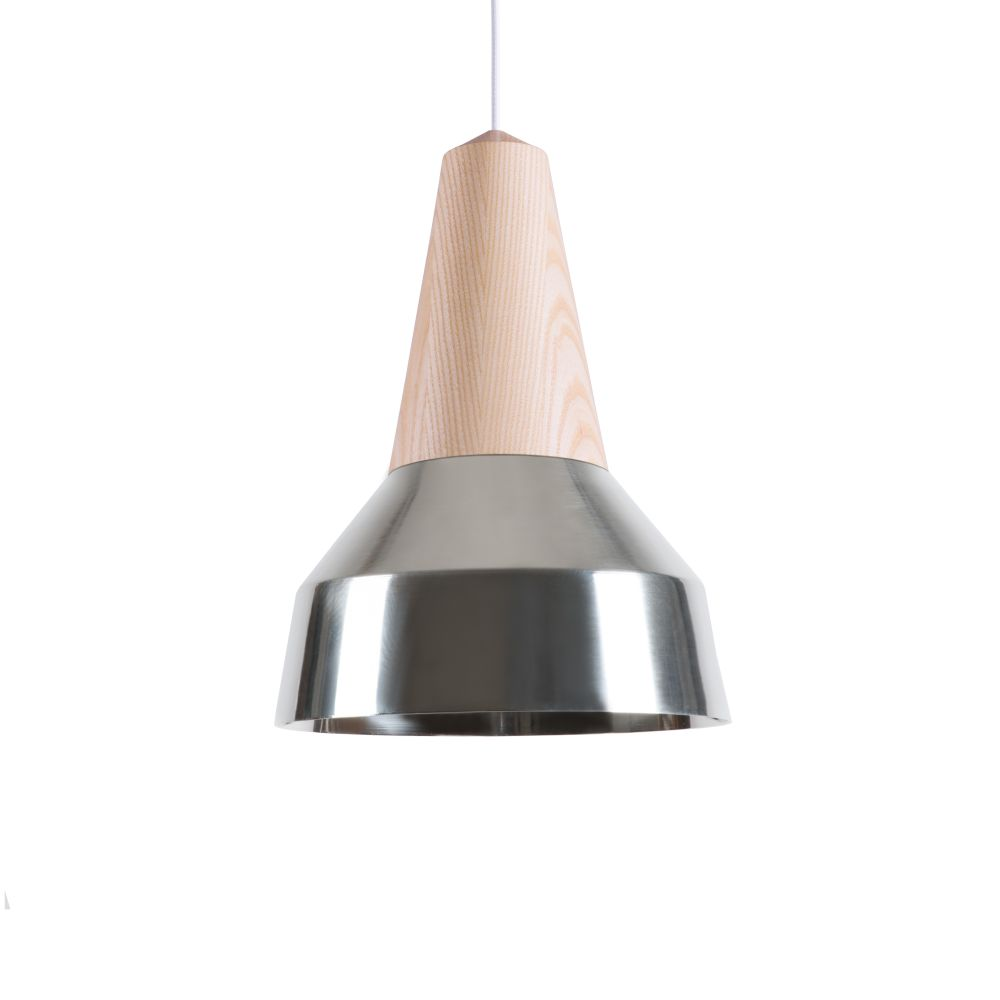 Eikon Ray Pendant Light in Ash and Silver with blue cable