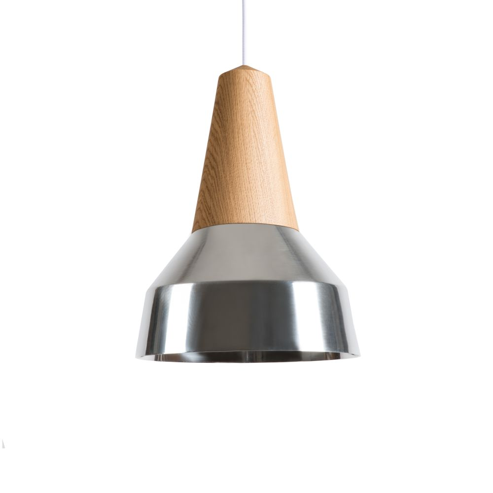 Eikon Ray Pendant Light in Oak and Silver with creme cable