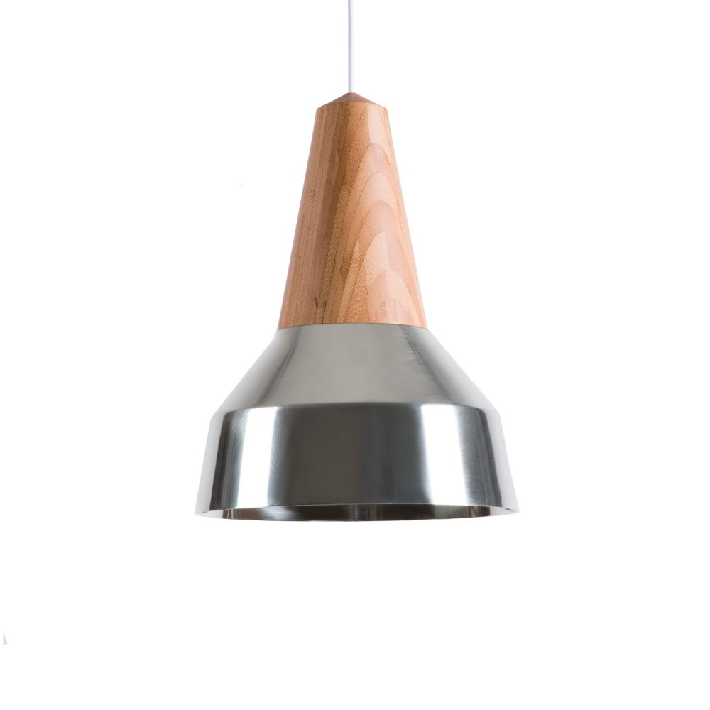 Eikon Ray Pendant Light in Bamboo and Silver with coral cable
