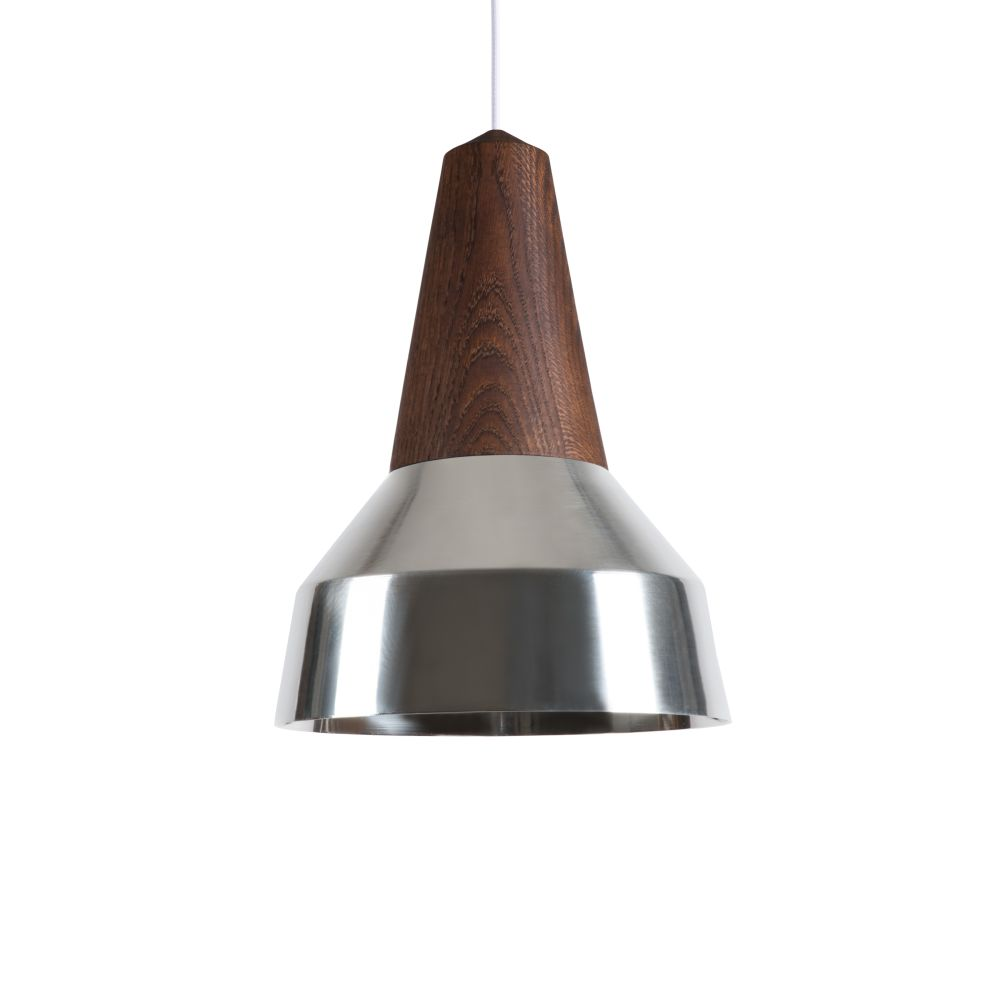 Eikon Ray Pendant Light in Black Oak and Silver with black cable