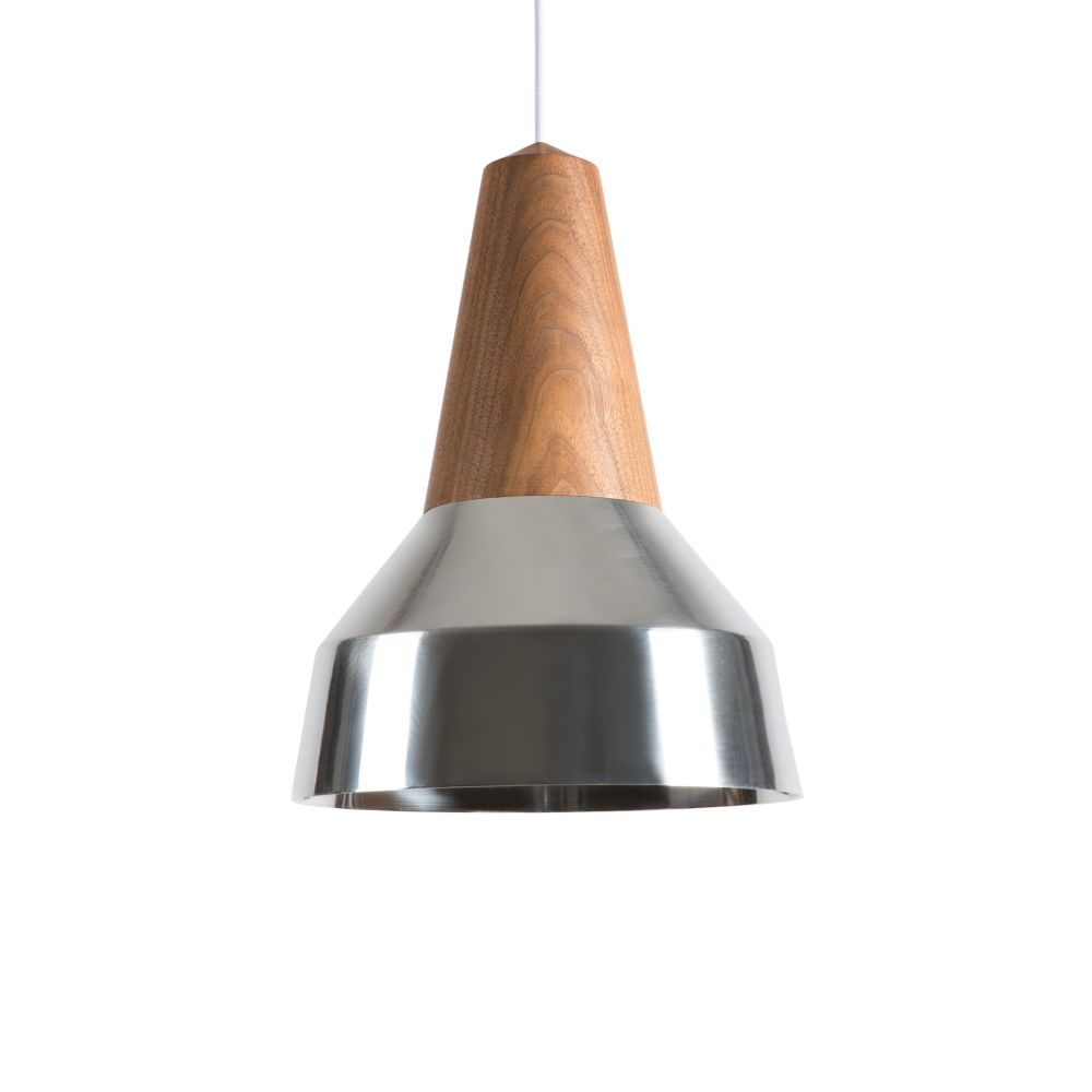 Eikon Ray Pendant Light in Walnut and Silver with white cable