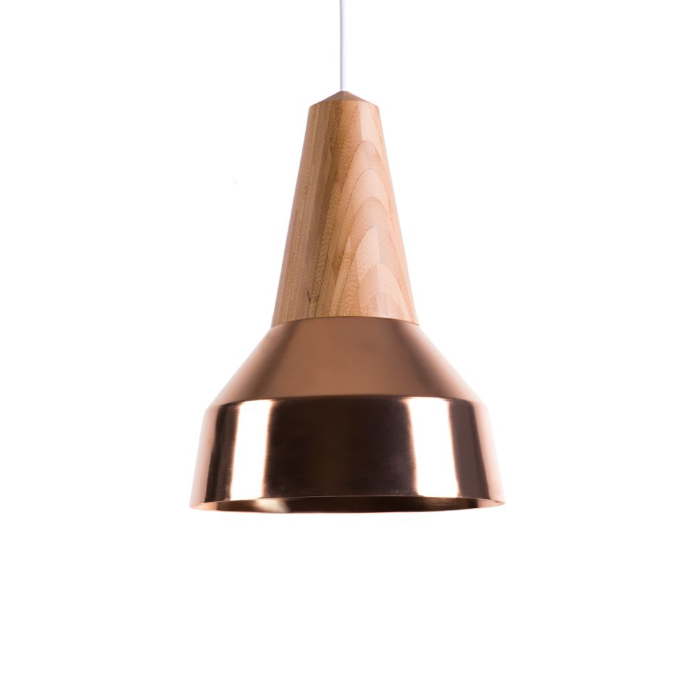Eikon Ray Pendant Light in Bamboo and Copper with coral cable