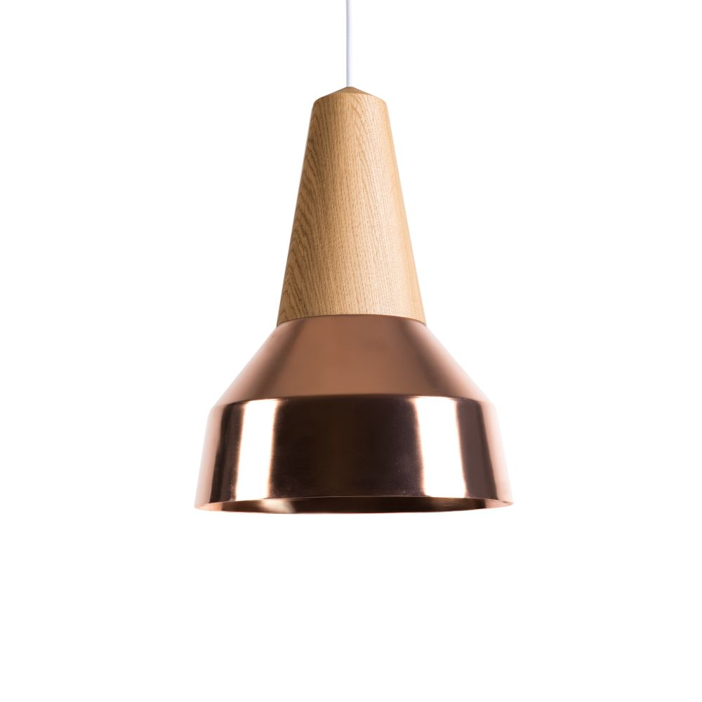 Eikon Ray Pendant Light in Oak and Copper with white cable