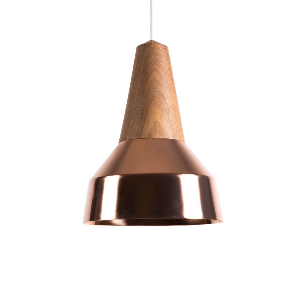 Eikon Ray Pendant Light in Walnut and Copper with creme cable