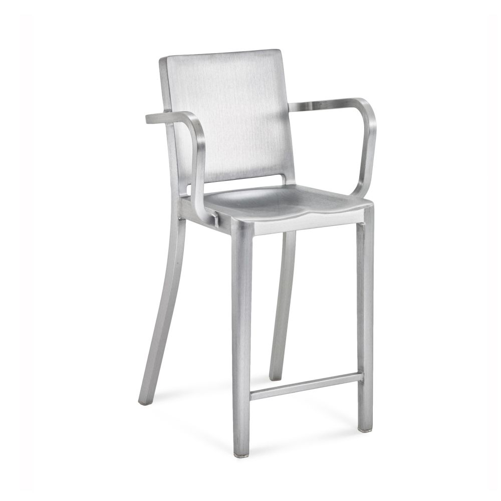 Hudson Counter Stool with Arms by Emeco
