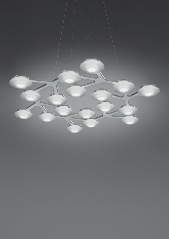 Led net circle pendant light glossy white by artemide aloadofball Image collections
