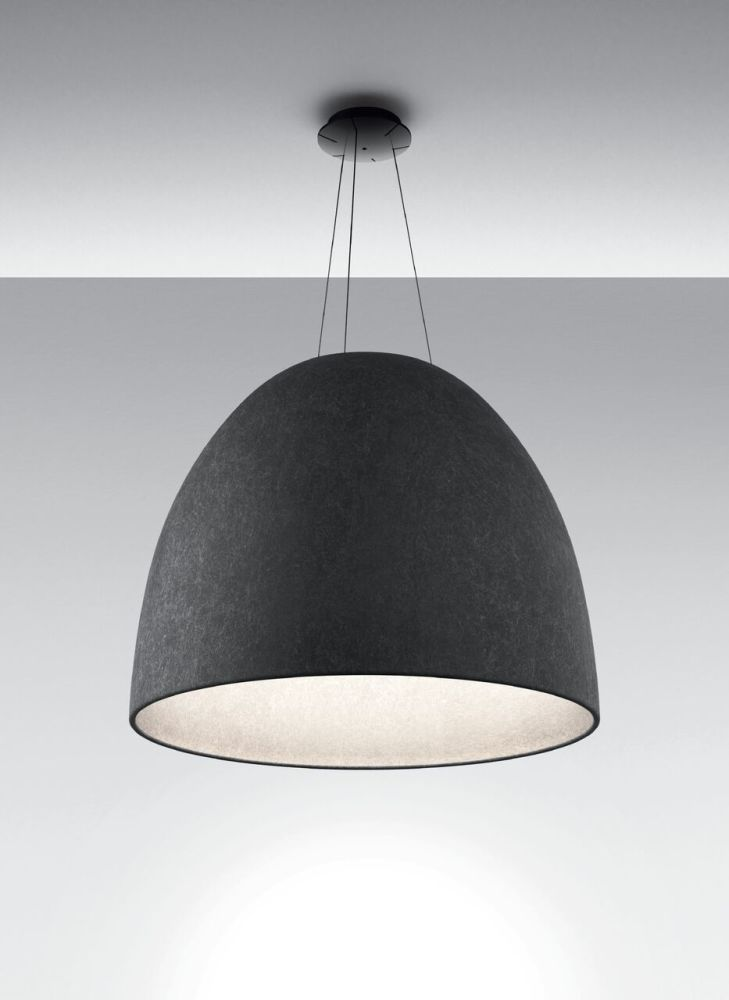 Nur Acoustic Pendant Light White Dark Grey By Artemide
