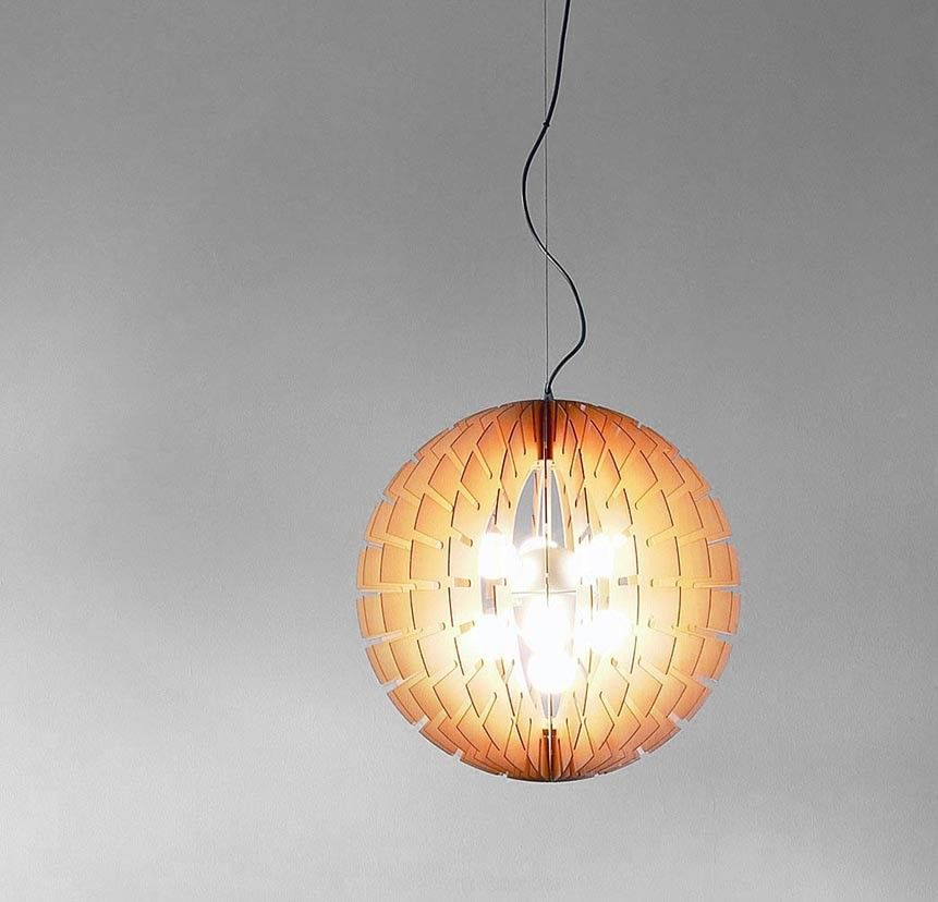 Helios Wood Suspension Lamp by B.LUX