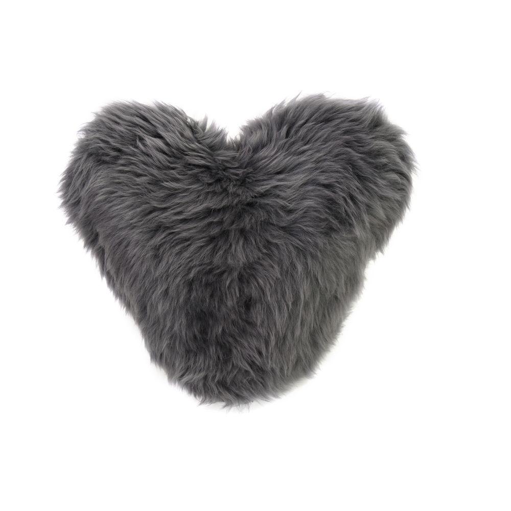 Calon Wlân - Sheepskin Heart Cushion by Baa Stool