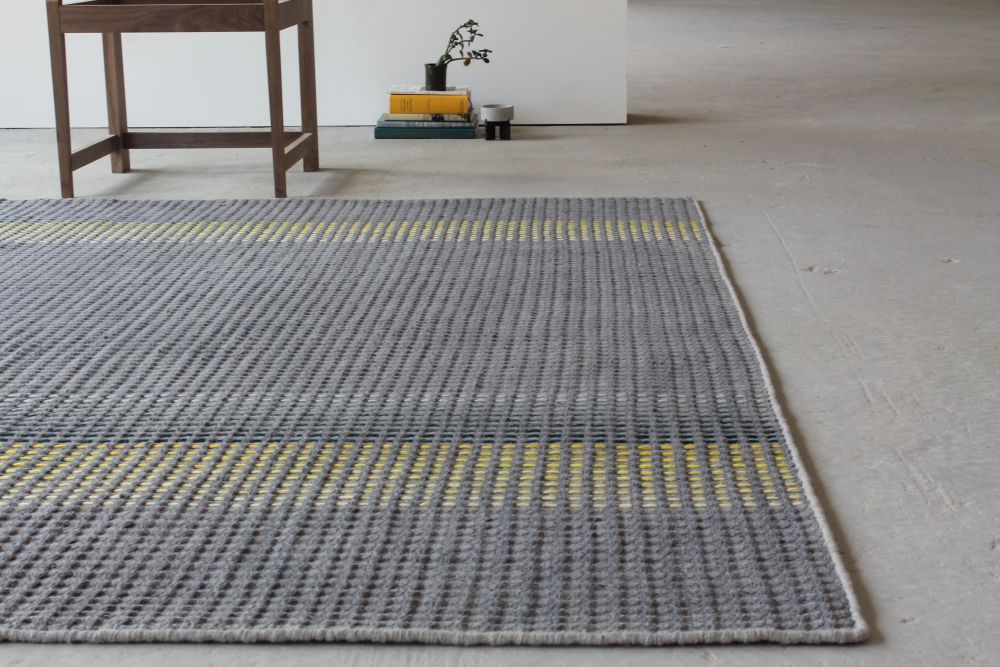 HALDI - yellow & teal hand woven rug by WAFFLE DESIGN