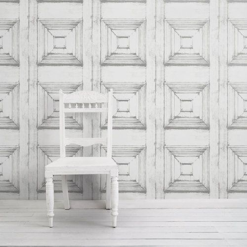 Almost White Victorian Panelling Wallpaper  by Mineheart