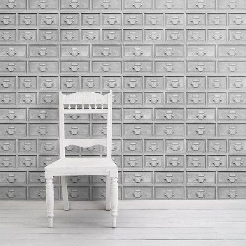 Almost White Industrial Drawers Wallpaper  by Mineheart