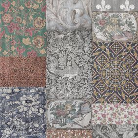 Arts and Crafts Patchwork Wallpaper  by Mineheart