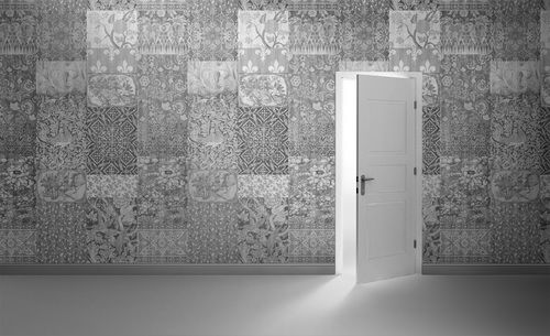 Arts and Crafts Patchwork Wallpaper Black and White  by Mineheart