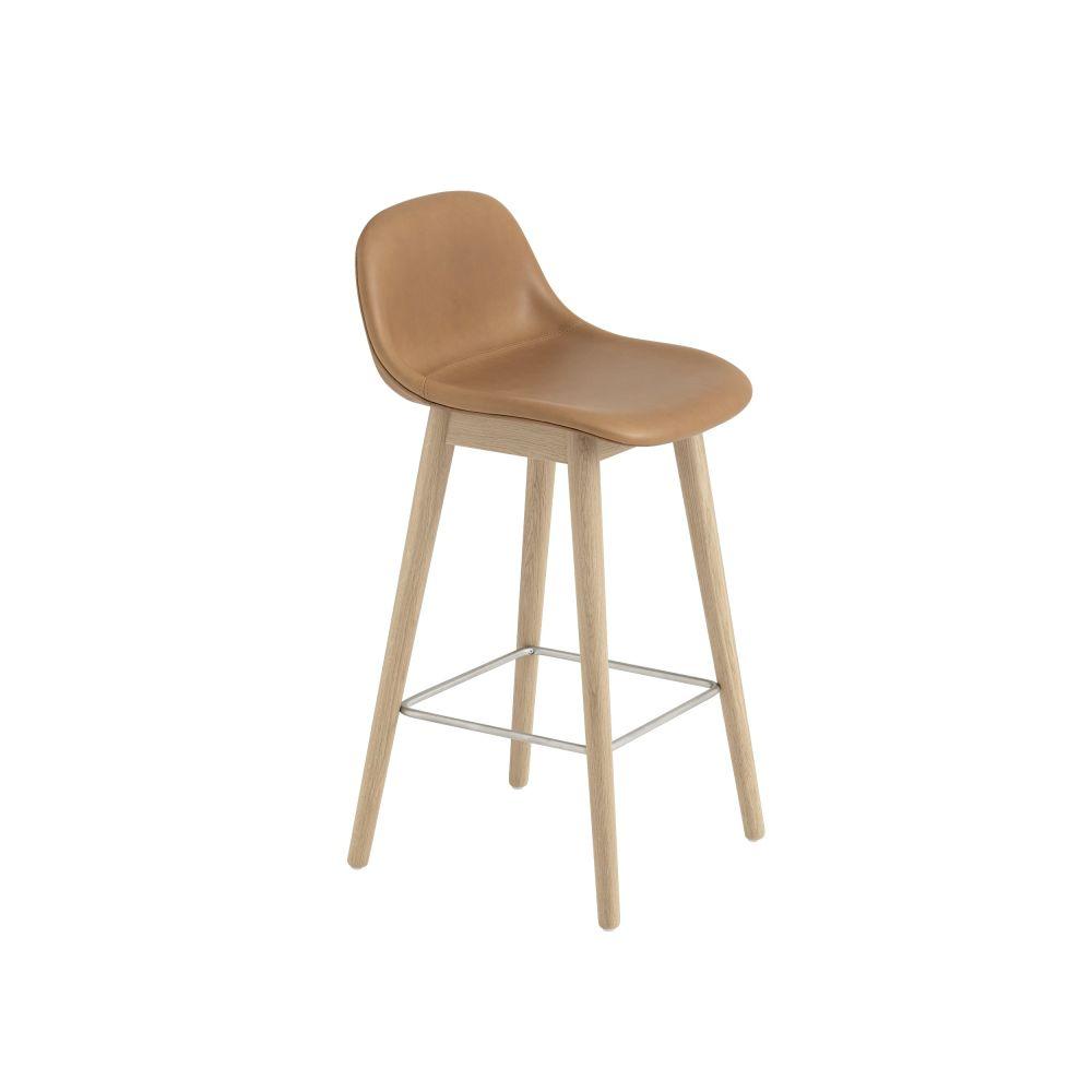 Fiber Bar Stool With Backrest Wood Base Upholstered By Muuto
