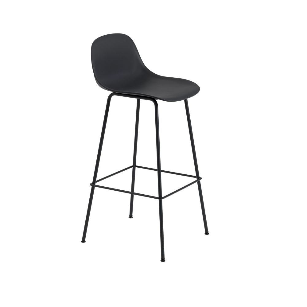 Fiber Bar Stool With Backrest Tube Base by Muuto