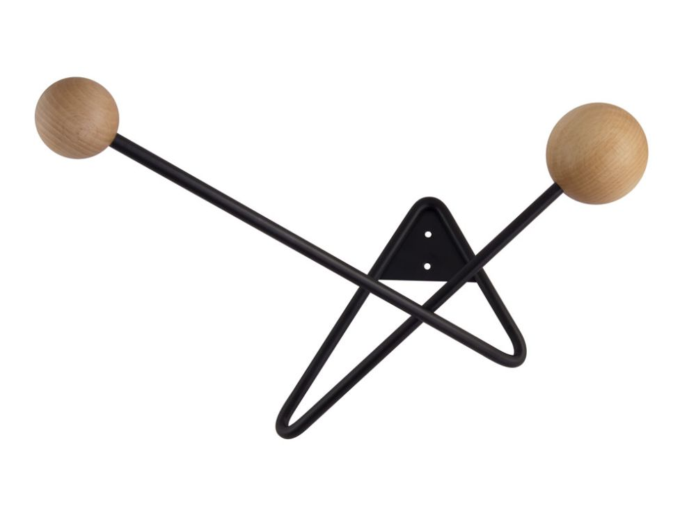 ATOME coat hanger - black/natural wood