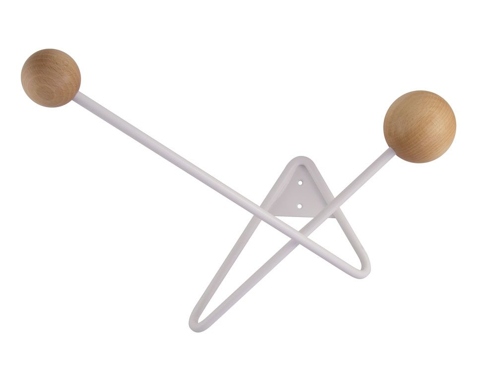ATOME coat hanger - white/natural wood