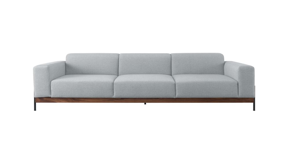 Bowie 3 Seats Sofa Oak Natural, Lana 007 Canary by Wewood