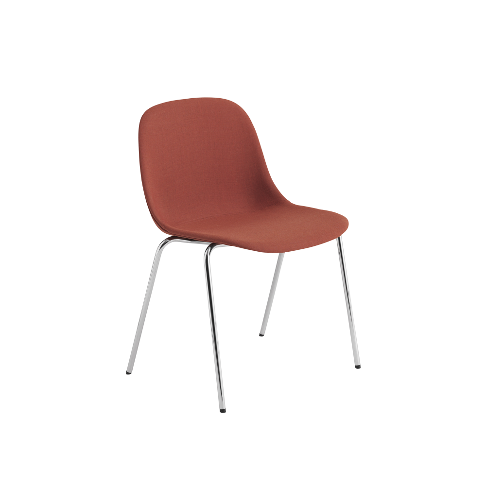 fiber side chair a base with felt glides upholstered wooly koks