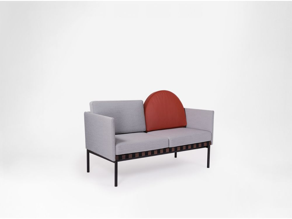 Grid - 2 Seater Sofa With Armrests, With Round Cushion by Petite Friture