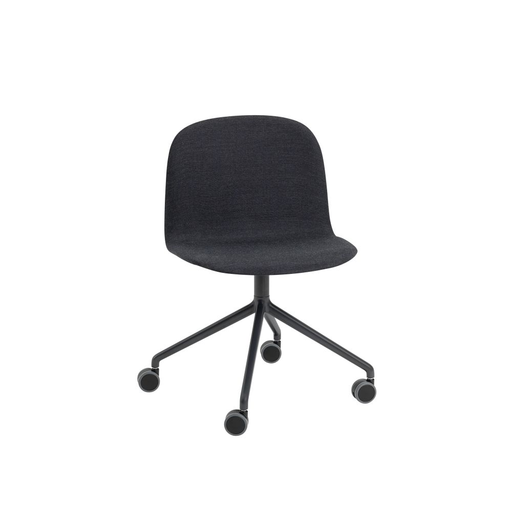Visu Wide Chair / Swivel With Castors - Upholstered by Muuto