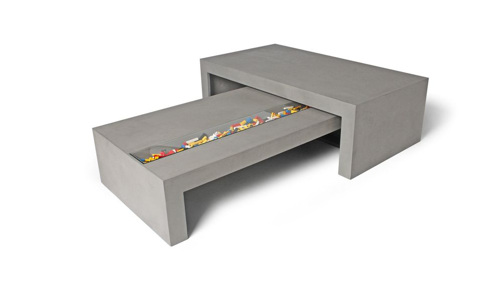 Concrete Coffee Table with Tempered Glass by Lyon Beton