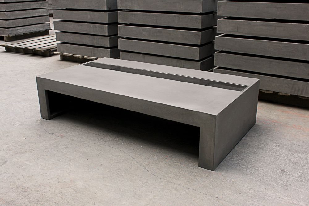 Concrete Coffee Table With Tempered Glass By Lyon Béton For Lyon Beton