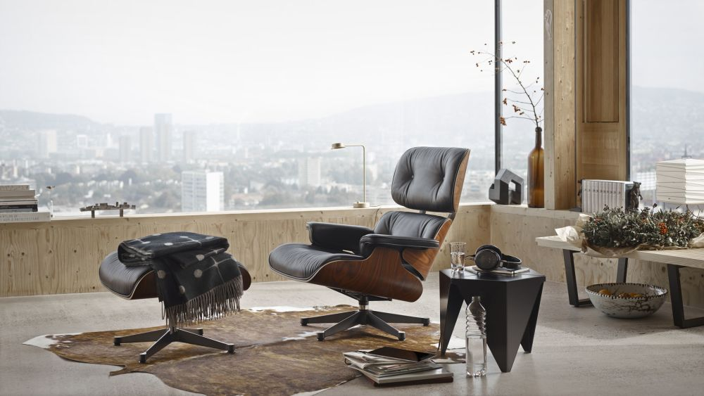 Vitra Eames Lounge Chair U0026 Ottoman   Black Pigmented Walnut Veneer Shell