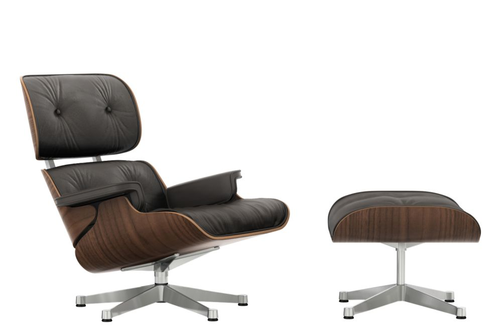 Vitra Eames Lounge Chair & Ottoman - Black - Pigmented Walnut Shell by Vitra