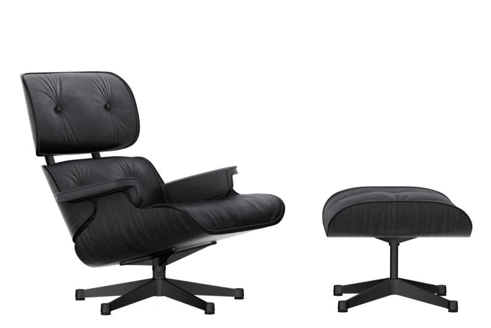 Vitra Eames Lounge Chair & Ottoman - Black Ash Shell by Vitra
