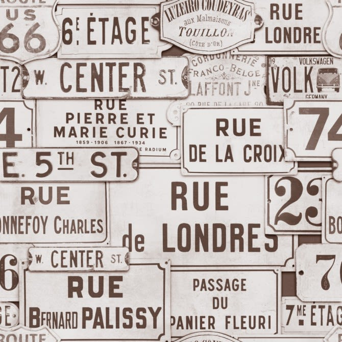 Street Signs Brown Wallpaper by Mind The Gap