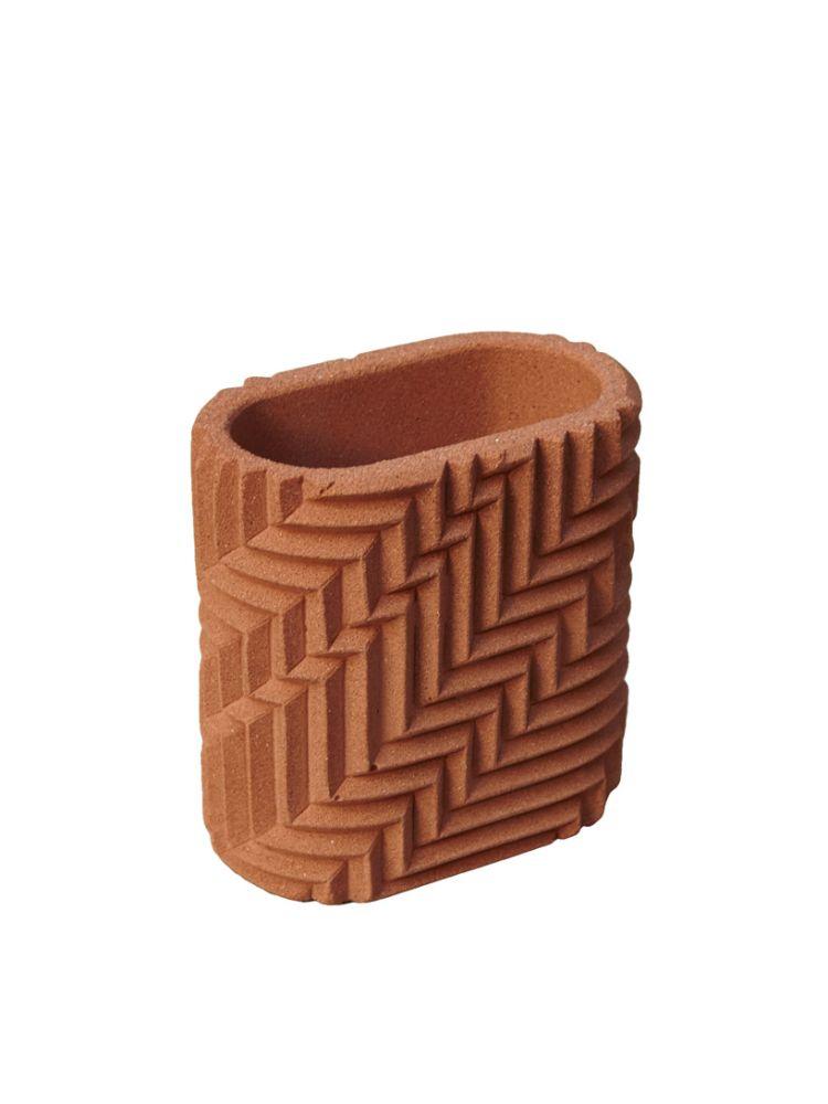 Herringbone Pen Pot - Brick Red by Phil Cuttance