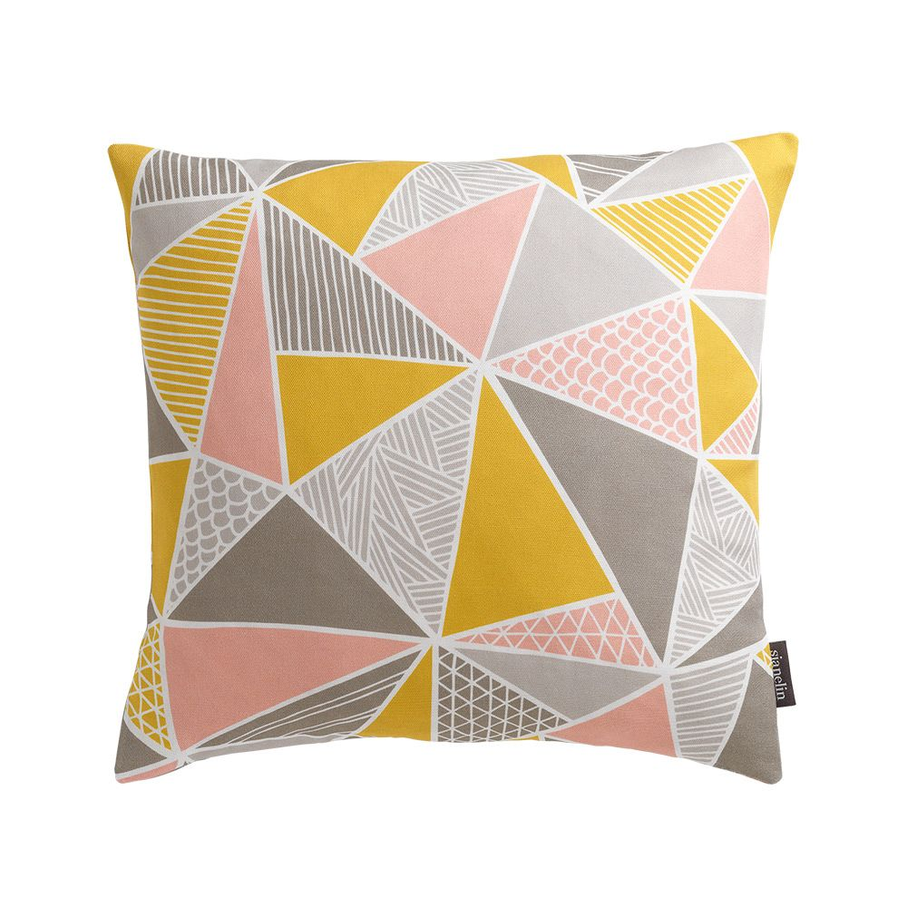 Tress (Yellow, Pink, Grey) Cushion by Sian Elin