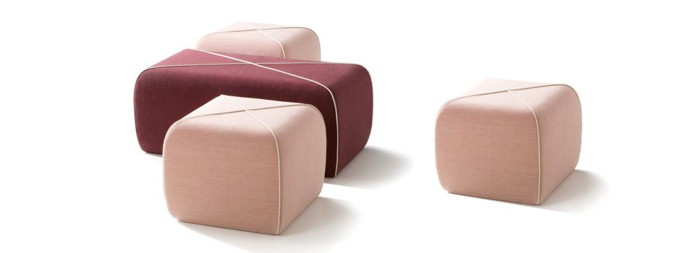 Crossed Pouf - Square by B-LINE