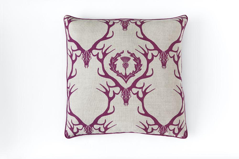 Deer Damask Cushion by Barneby Gates