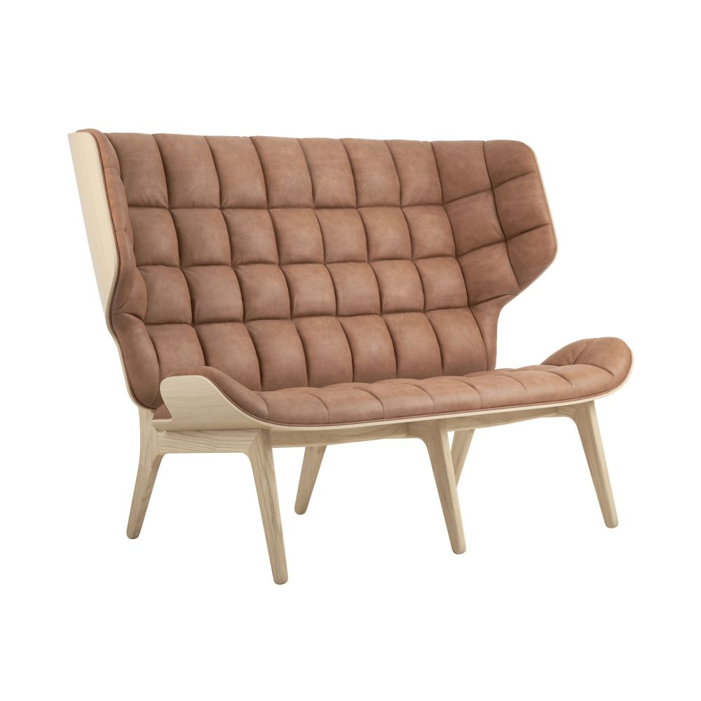 Mammoth Sofa Natural Oak, Vintage Leather Camel by NORR11