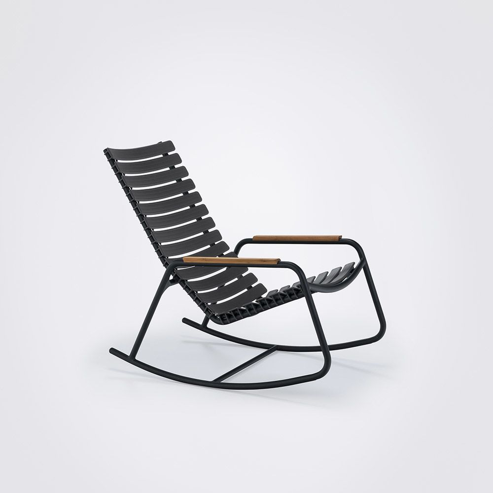 Clips Rocking Chair - Black Frame, Bamboo Armrests by HOUE