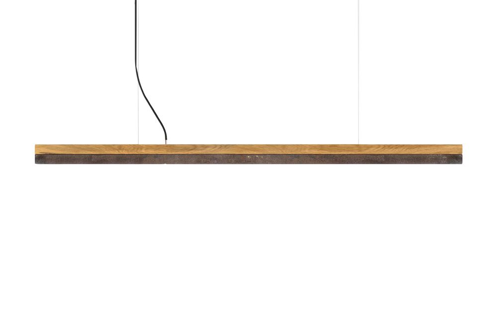 [C] Oak Wood & Corten Steel Pendant Light (92cm, 122cm or 182cm) by GANTlights
