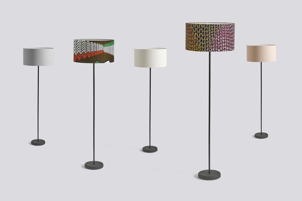 Drum lamp shade with cast floor base ace 102 white fabric by hay drum shade is a fabric covered light shade with a laminated textile onto a parchment drum with a wire frame base colour keyboard keysfo Image collections