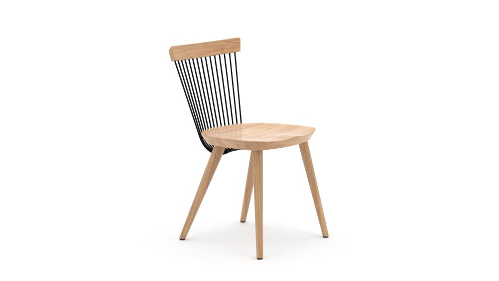 WW Dining Chair - Oak & Black - Main View