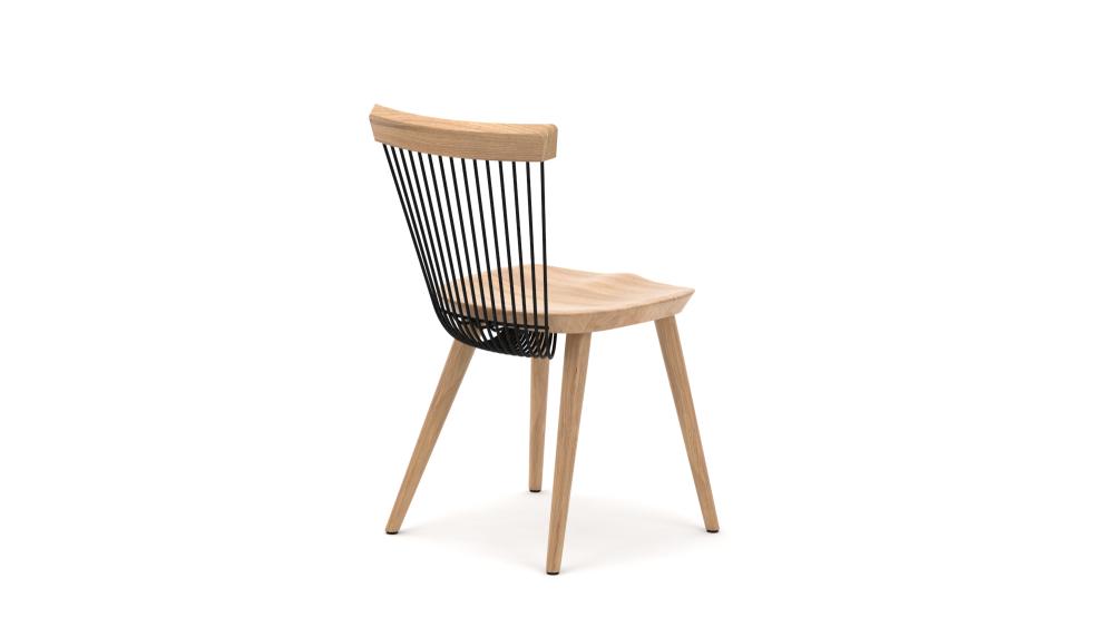 WW Dining Chair - Oak & Black - Rear View