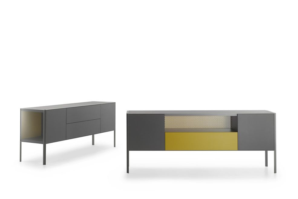 Heron Low Unit, 2 Doors, Single Drawer, Open Compartment by MDF Italia
