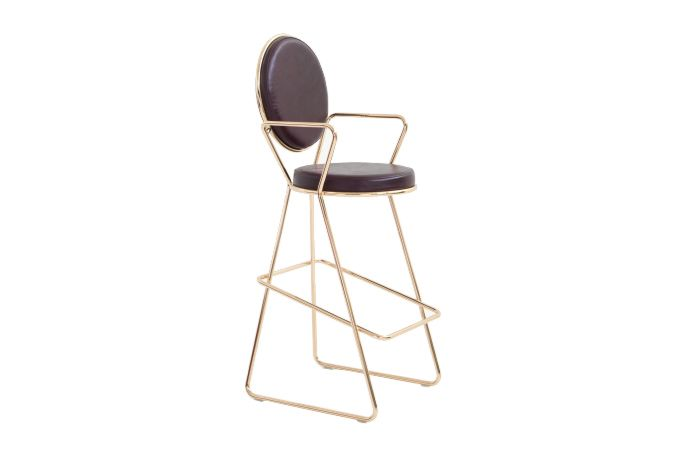 Double Zero High Back Bar Stool with Armrest by Moroso