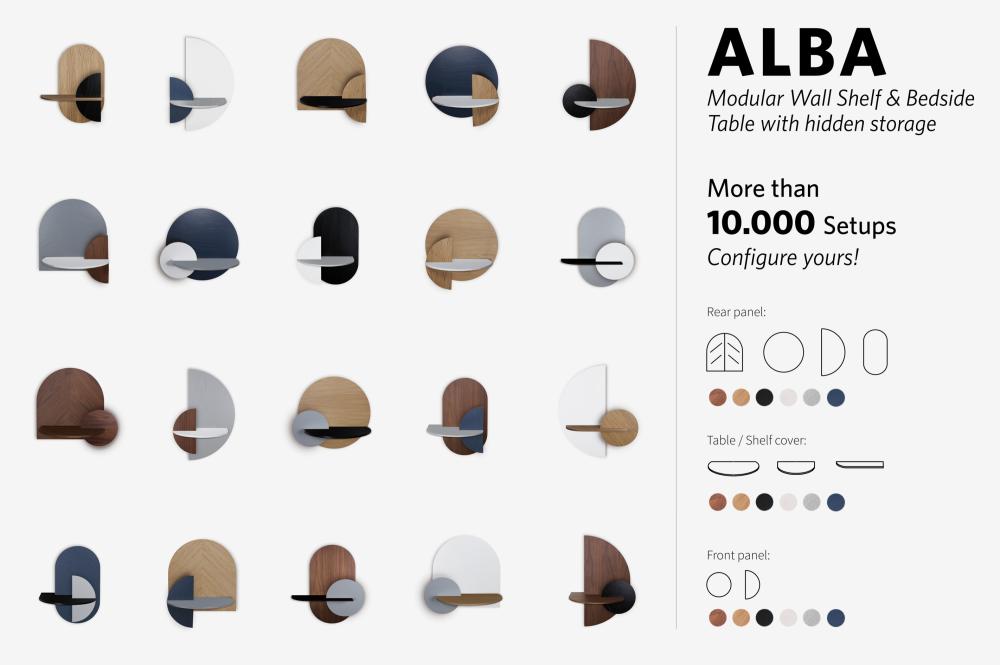 ALBA L - Semi circle. Modular bedside shelf. Storage. Customizable.  by WOODENDOT