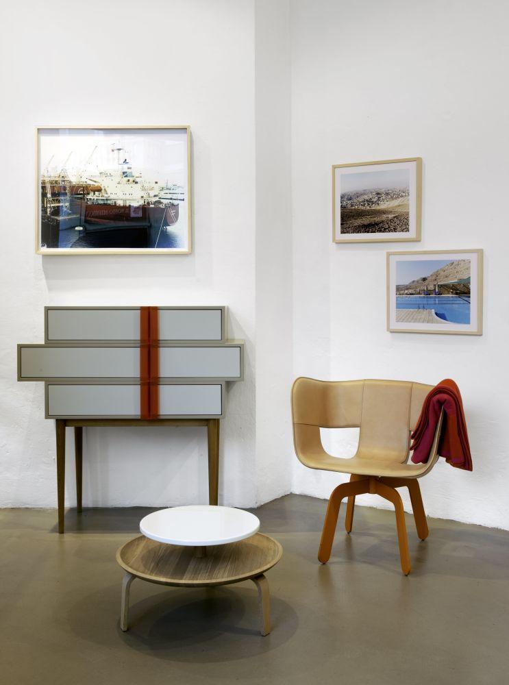 A-Line dresser, Secreto Coffee Table, Tria Lounge armchair showroom Milano, Italian Design