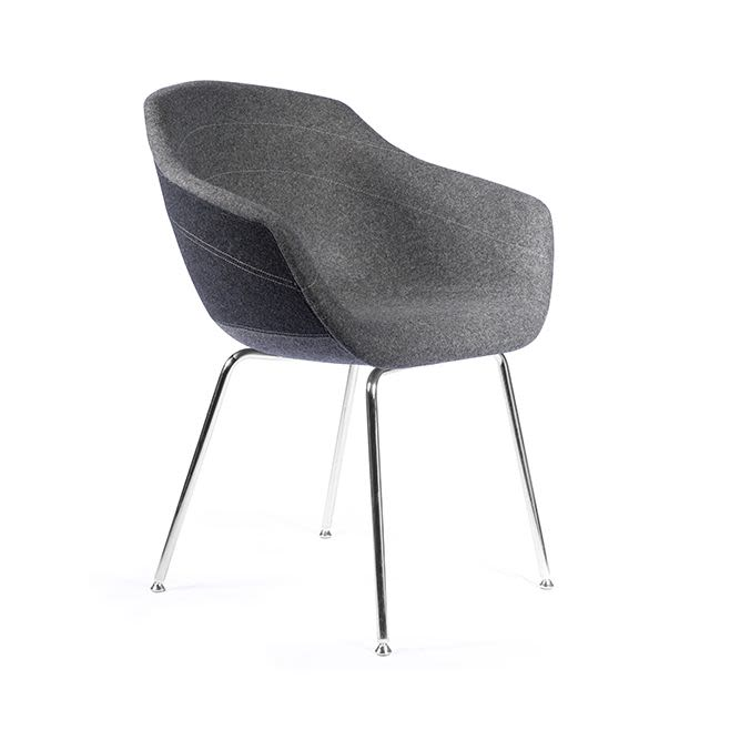 Canal Dining Chair with Four-Legged Steel Base by moooi